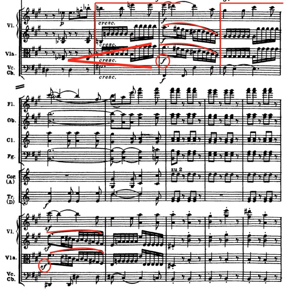 ベートーヴェン:交響曲第7番 第1楽章第118-126小節