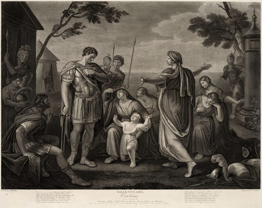 Coriolanus, Act V, Scene III. Engraved by James Caldwell from a painting by Gavin Hamilton