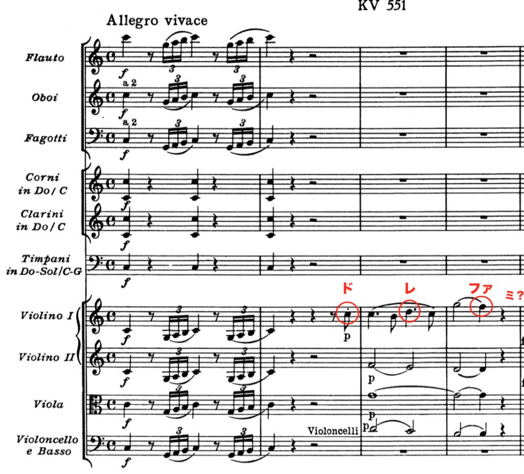 モーツァルト:交響曲第41番第1楽章冒頭