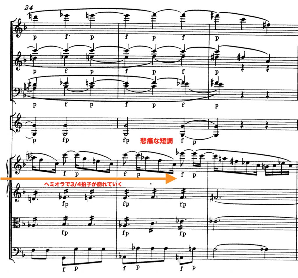 モーツァルト:交響曲第41番第2楽章第24小節
