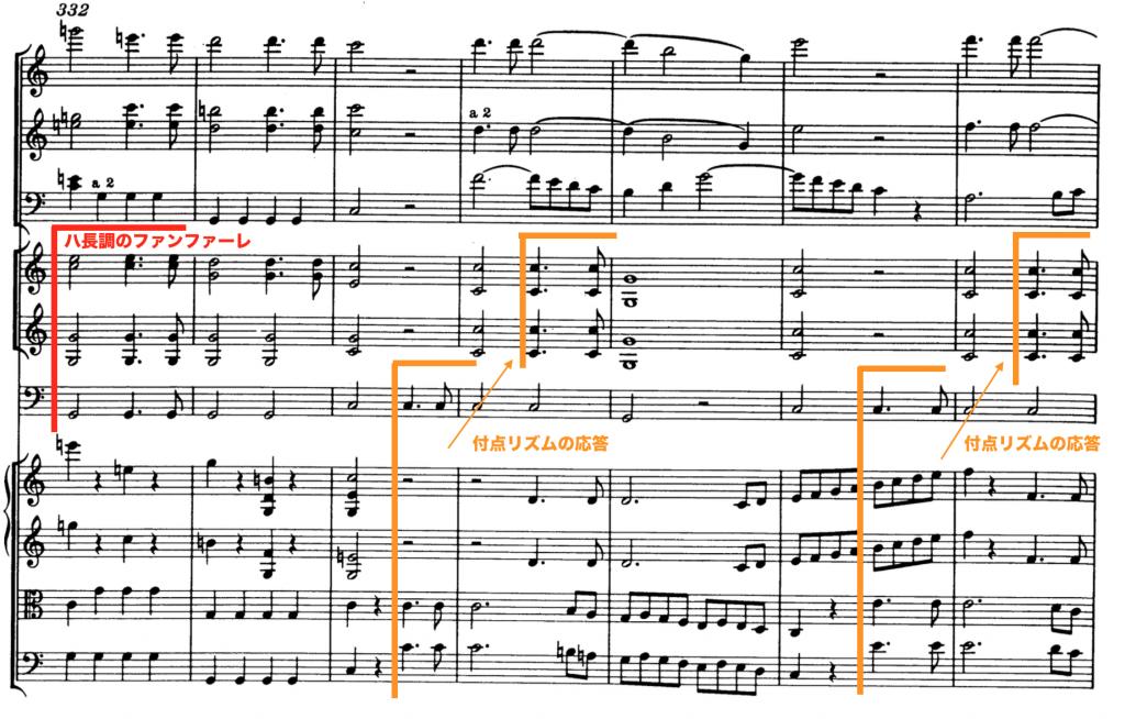 モーツァルト:交響曲第41番第2楽章第332小節目