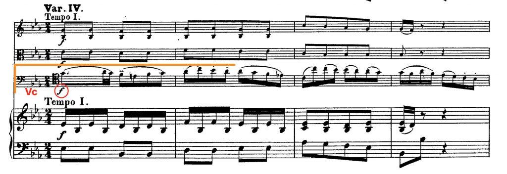 ベートーヴェン:ピアノ四重奏曲WoO36第1番変ホ長調 第3楽章 第69小節〜72小節