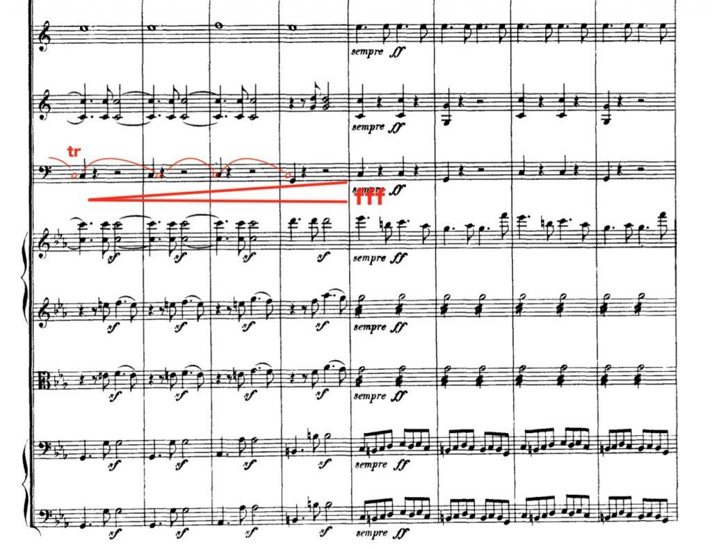「コリオラン」序曲 266〜273小節 拍の頭に叩くティンパニをロールに改変