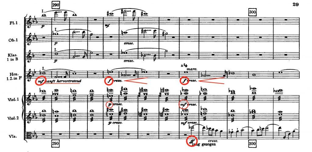 ブルックナー:交響曲第4番変ホ長調(ノヴァーク版2稿) 第1楽章289小節〜