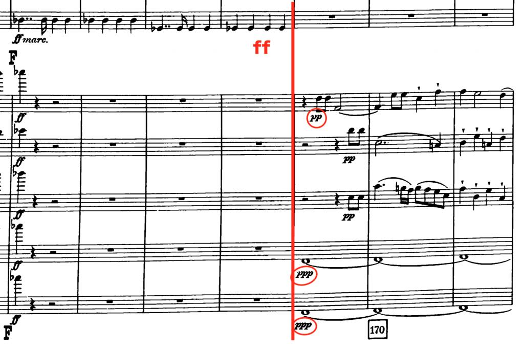 ルックナー:交響曲第4番変ホ長調(ハース版) 第1楽章166小節〜