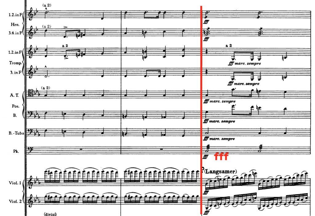 ブルックナー:交響曲第4番変ホ長調(ハース版) 第2楽章219小節〜
